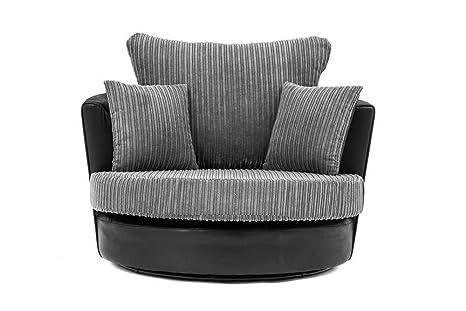 Sofá esquinero 2 + 3 y sillón de tela de cordón de chenilla ...
