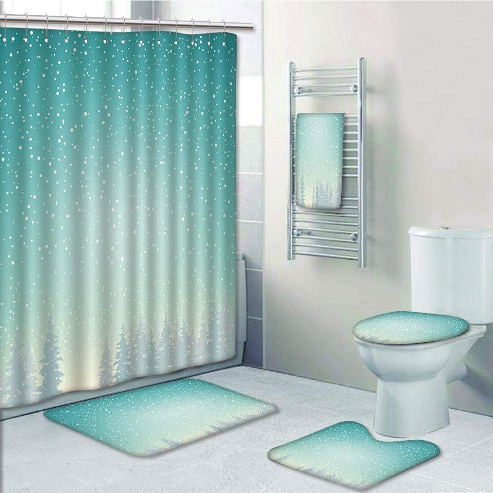 Bathroom Fashion 5 Piece Set shower curtain 3d print,Winter,Snow Falls on the Spruce Forest Fir Trees Seasonal Nature Woods Icy Cold Xmas Time Decorative,,Bath Mat,Bathroom Carpet Rug,Non-Slip,Bath To