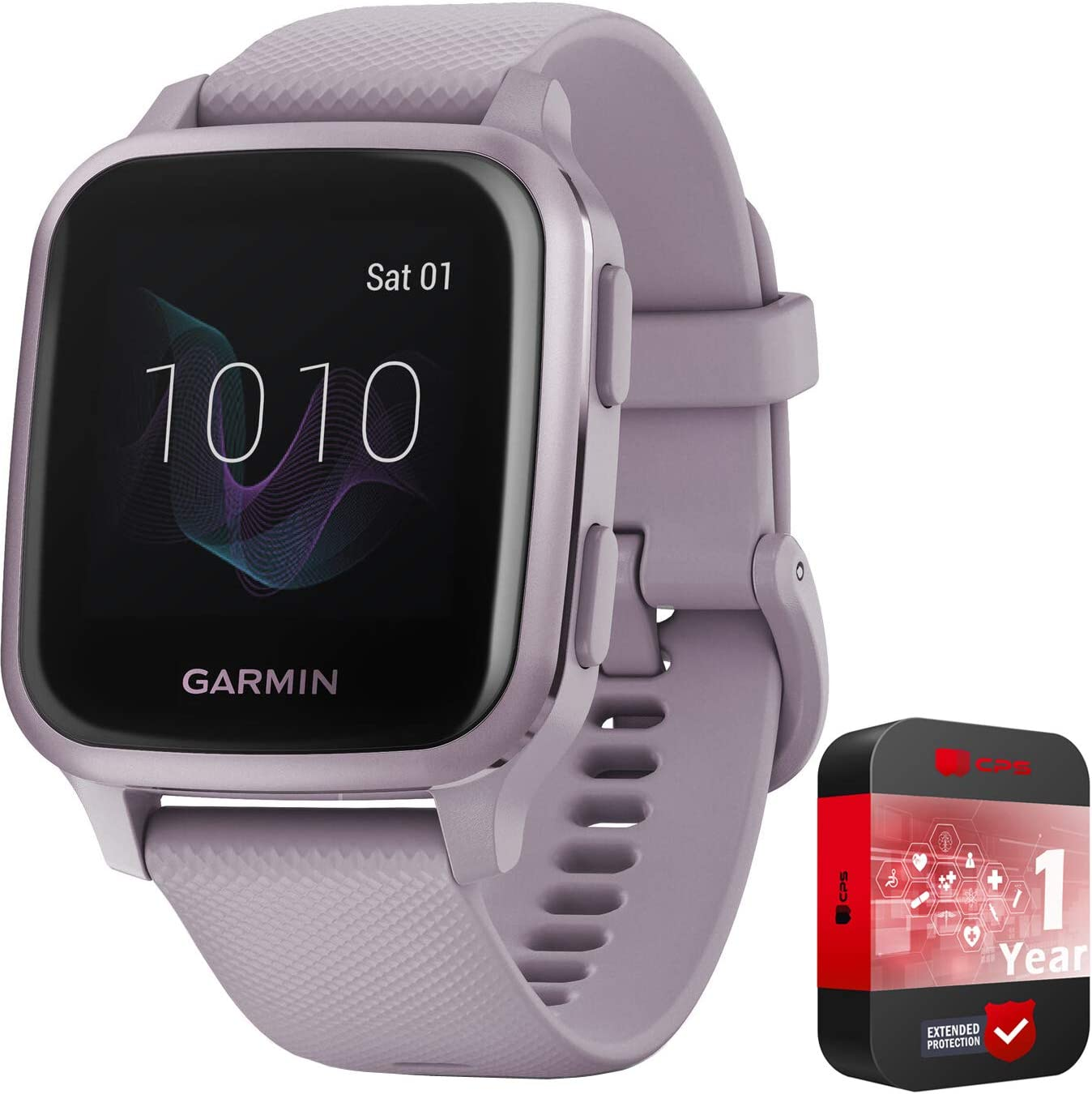 Garmin 010-02427-02 Venu Sq, Metallic Orchid Aluminum Bezel with Orchid Case and Silicone Band Bundle with 1 Year Exteded Protection Plan