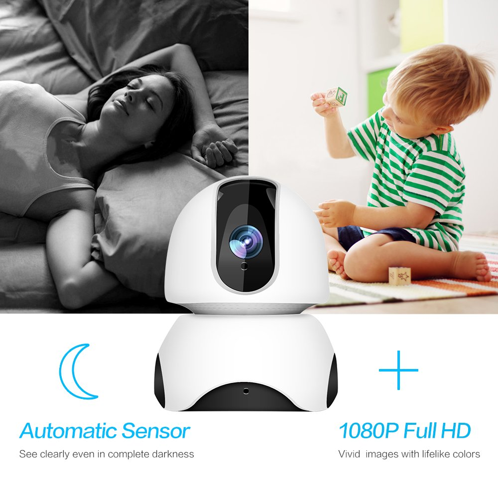 1080P Wireless IP Camera, 360 Home WiFi Security Camera Indoor Surveillance Camera System Panorama View for Pet/Baby Monitor Remote Viewer Nanny Cam with Pan/Tilt, Two-Way Audio & Night Vision by SHome (Image #5)