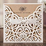 Laser Cut White Hollow-out Flowers with Lace Bowknot Wedding Invitations Cards Festival Party Celebration CW6179W (100)