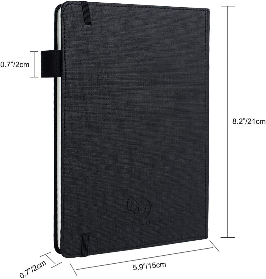 Nero Taccuino,LUOLLOVE 100 fogli Premium Journal A5 quaderno con copertina rigida 5,8 * 8,3 portapenne