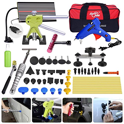 Fly5D 65Pcs Auto Body Car Dent Repair Removal Kit Dent Lifter Slide Hammer Hail Repair Tool Kits PDR Starter Kits for Door Dings Hail Repair and Dent Removal ()