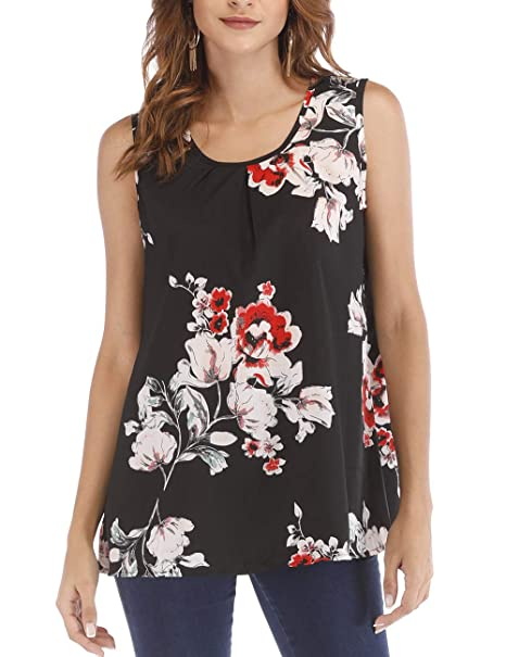 a0b4074514a57f Women s Summer Floral Print Tank Tops Sleeveless Flowy Tank Blouse at Amazon  Women s Clothing store