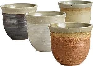Japanese Tea Cups Ceramic Design - Set of 4 Zen-Inspired Teacups - Use for Hot & Cold Drinks - Microwave Safe - Dishwasher Safe, Durable - Decorative and Multipurpose Tea Cups - Unique Teaware Set
