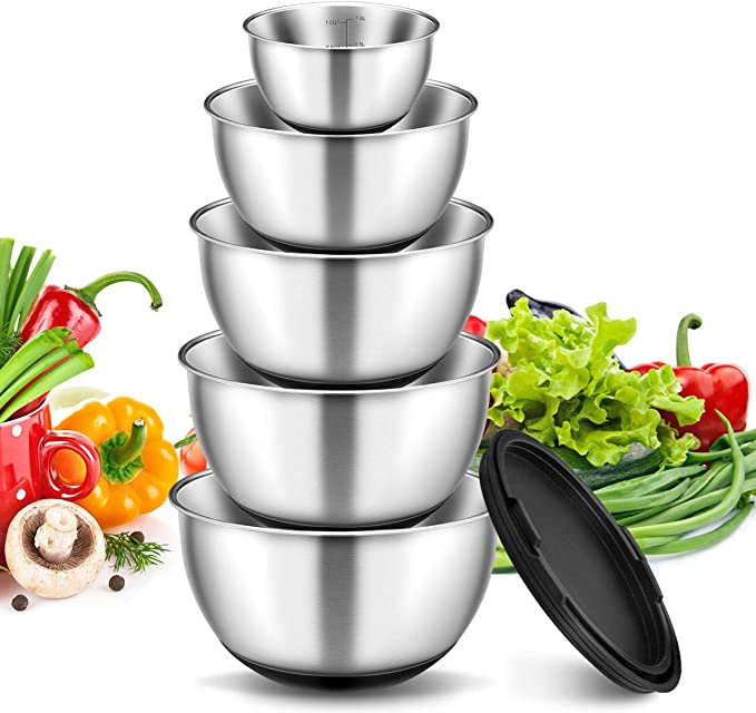 Stainless Steel Mixing Bowls with Lids Set of 5, Non-Slip Silicone Bottom Metal Salad Bowls Set with Stackable Storage, Etched Measurement Marks, 5 Pieces Includes 1 QT, 2 QT, 2.5 QT, 3 QT, 4.5 QT