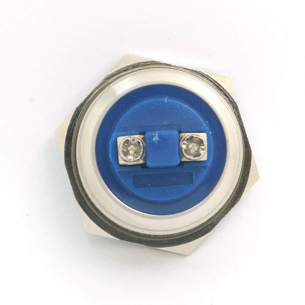 Splitter DollaTek 25mm Flache Reset-Taste Schalter 12 V DC Angel Eye LED Wasserdichte Edelstahl Runde Llight Schalter Mit Schraube Fu/ß