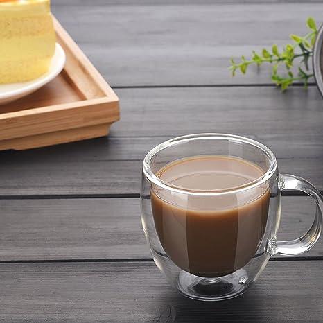 Sweese - Juego de 2 vasos de café con mango y aislamiento de doble pared: Amazon.es: Hogar