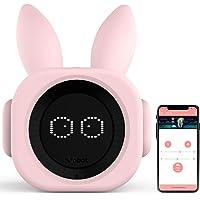 VOBOT Bunny Kids/Toddlers Smart Sleep Trainer with Amazon Alexa, Alarm Clock Including Night Lights and Sleep Sounds Customizable Sleep Training Program by Smartphone App - Bright Pink