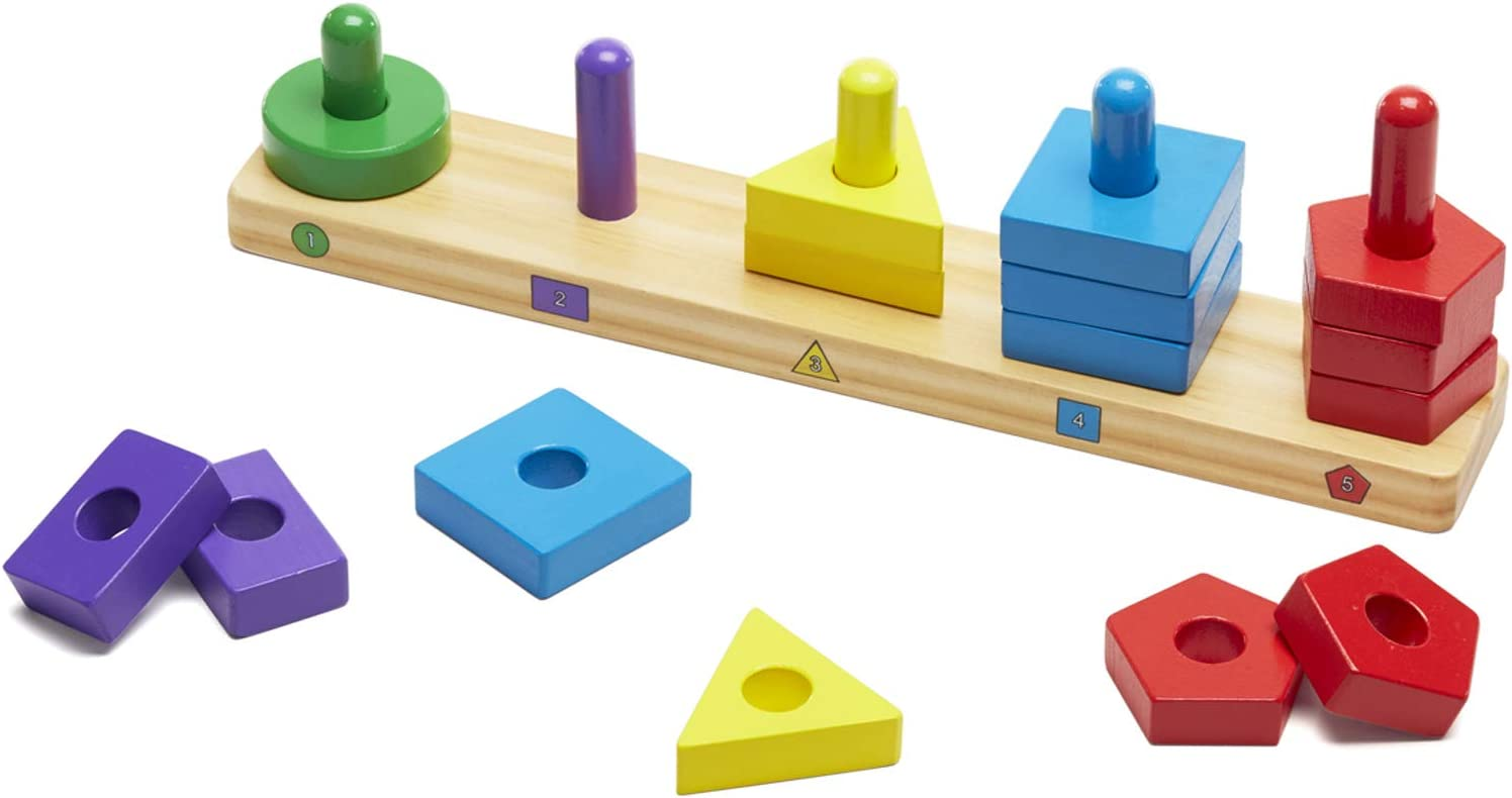 B000AS2AL4 Melissa & Doug Stack and Sort Board - Wooden Educational Toy with 15 Solid Wood Pieces 61GbG7BIV3L