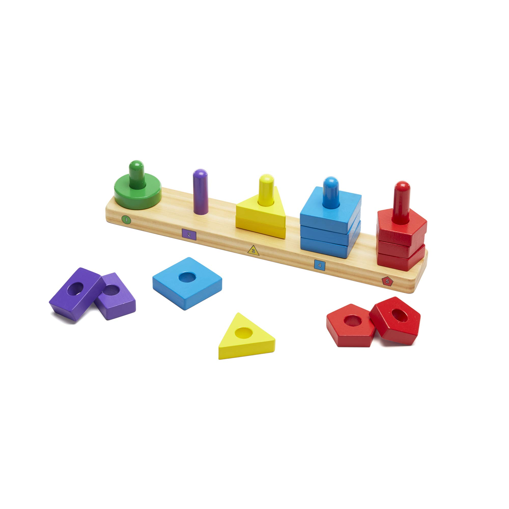 Melissa & Doug Stack and Sort Board - Wooden Educational Toy with 15 Solid Wood Pieces product image