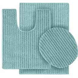 Garland Rug 3-Piece Sheridan Nylon Washable Bathroom Rug Set, Seafoam
