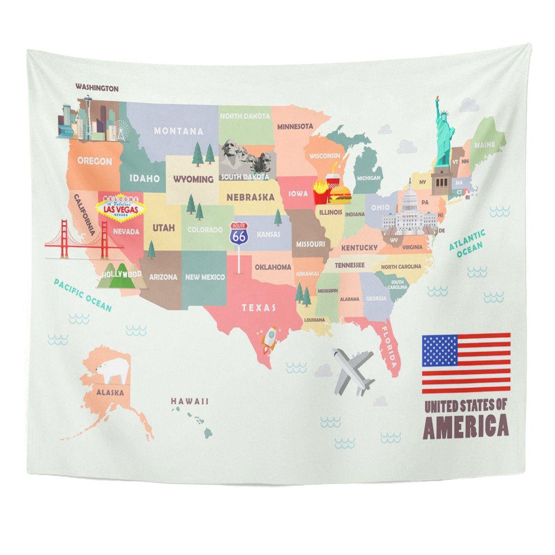 Emvency Tapestry Monument Map of The United States America Famous Home Decor Wall Hanging for Living Room Bedroom Dorm 50x60 Inches