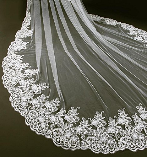 Lydia Wedding veil long lace bridal veil 3.5 m handmade decals long tail march veil + comb , White , 3.5m