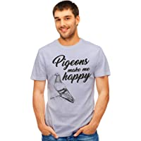 Retreez Funny Pigeons Make Me Happy Birds Lover Graphic Printed T-Shirt Tee