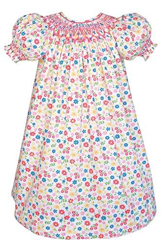 Carouselwear Hand Smocked Girls Birthday Bishop Dress Floral Cotton (Bishop Dress Birthday)