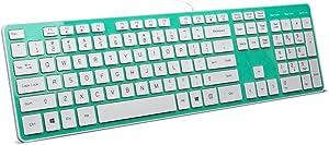 BFRIENDit Wired USB Keyboard, Comfortable Quiet Chocolate Keys, Durable Ultra-Slim Wired Computer Keyboard for PC, Windows 10/8 / 7 / Vista, KB1430 - Light Green
