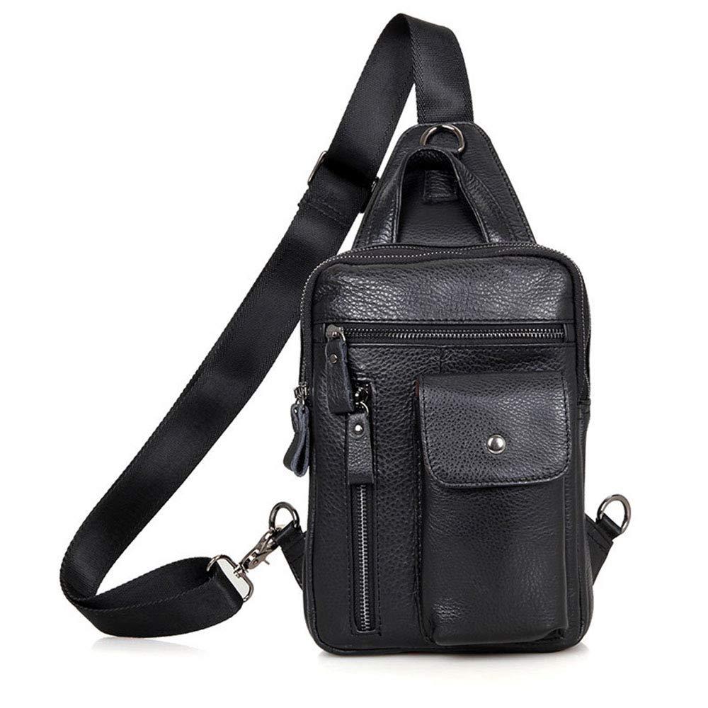 ybriefbagアウトドアスポーツ本革メンズレジャーChest Bag Litchi Shoulder Bag Smallバックパック旅行バッグChest Pack Daypack  ブラック B07G5J762R