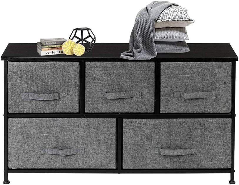 Civigrape 5 Drawer Dresser Storage Organizer Tower, 2-Tier Fabric Storage Chest Cabinet for Bedroom,Entryway, Closets,Office Furniture Storage Tower,Sturdy Steel Frame, Wood Top (Gray)