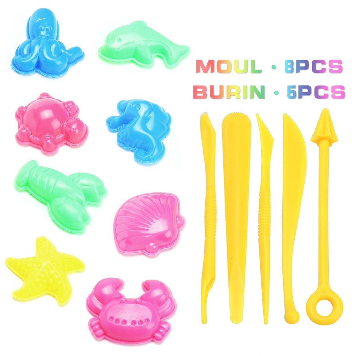 FUNTOK Sand with Molds and Tools Kit Magic Amazing Space Play Sand Colorful Sand Set Kid DIY Indoor Craft Educational Toy Sculpts Castle Architecture Set kids Molding Sand Chamnwii