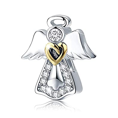 70a53fcef Angel Wing Heart Shape Gold Plated Bead Charms Bracelet Necklace Birthday