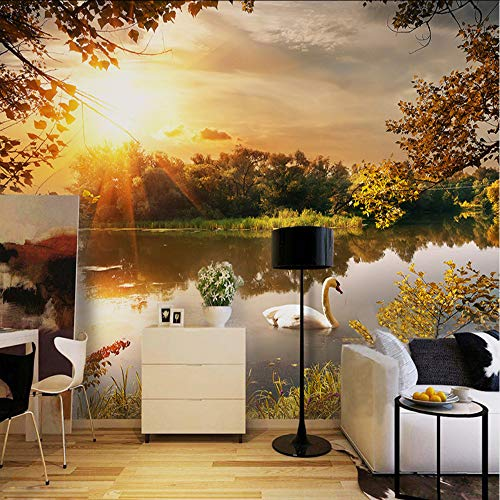 (hwhz Custom Romantic Pastoral 3D Mural Wallpaper Beautiful Sunset Lake Swan Landscape Dining Room Cafe Interior Decoration 3D Fresco-120X100Cm)