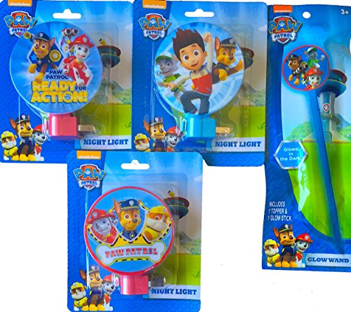Paw Patrol Children's Night Light Pack of 3 with Bonus Paw Patrol Glow Wand the Perfect Children's Room Decoration