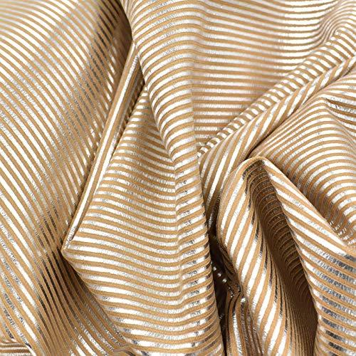 1 oz Embossed Stripes-5 Fashion Leather Calf Hide 4.3 SF Metallic Silver ()