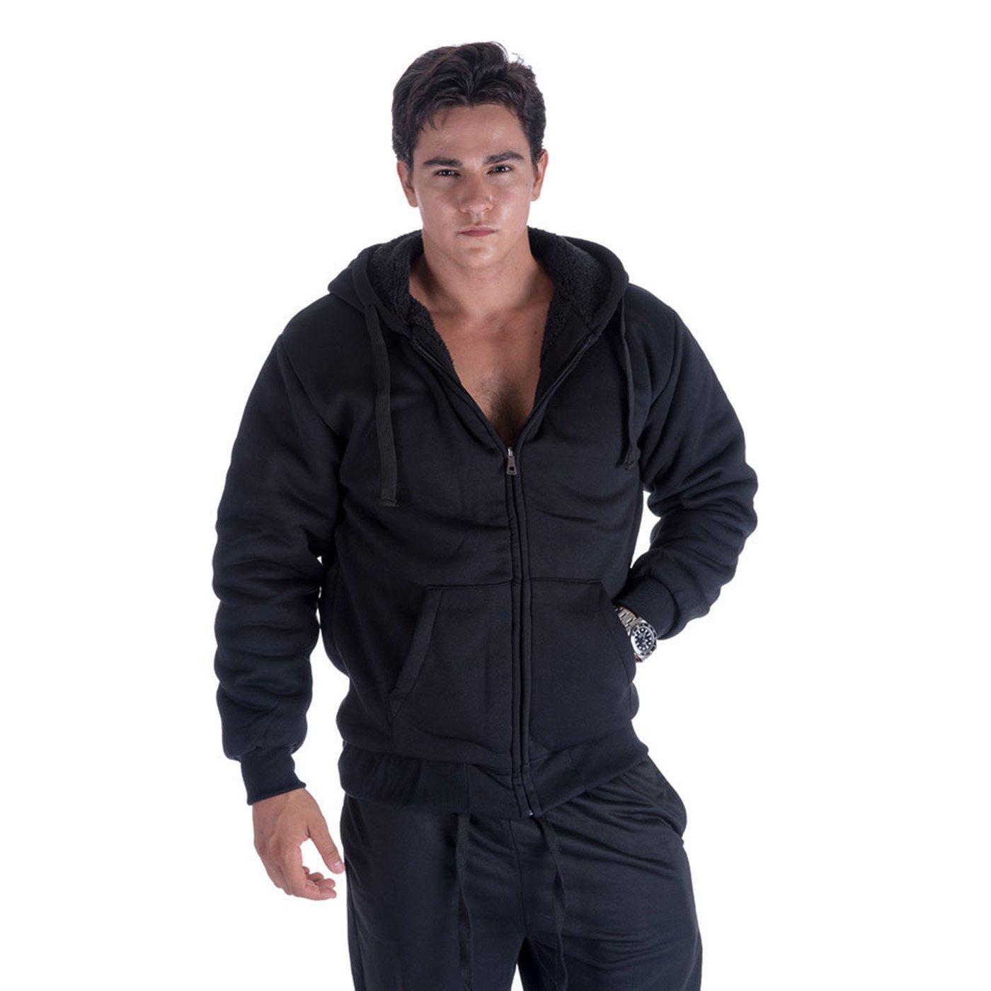 Erin Garments Mens Zip Front Hoodie Oversized Heavyheight Sherpa Lined Sweatshirt Black Grey Long Sleeve Jacket (5X-Large, Black)