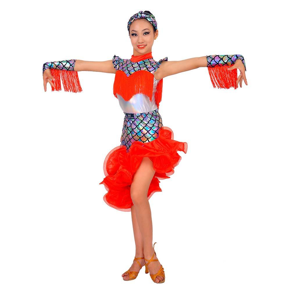 A2 170CM JIE. Latin-Nouveau Pompon Costume sirène Spectacle Concours Costume Enfants de la marée Droite d'été,B1,110CM