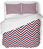 red and white chevron quilt - Emvency 3 Piece Duvet Cover Set Breathable Brushed Microfiber Fabric Navy Stripe Chevron Marine White Red Blue Geo Simple Abstract Collection Cruise Bedding Set with 2 Pillow Covers King Size