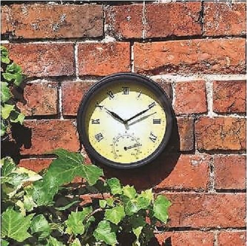 NEW TRADITIONAL GARDEN PATIO WALL CLOCK WITH THERMOMETER VICTORIAN STYLE 20CM A2Z Discount