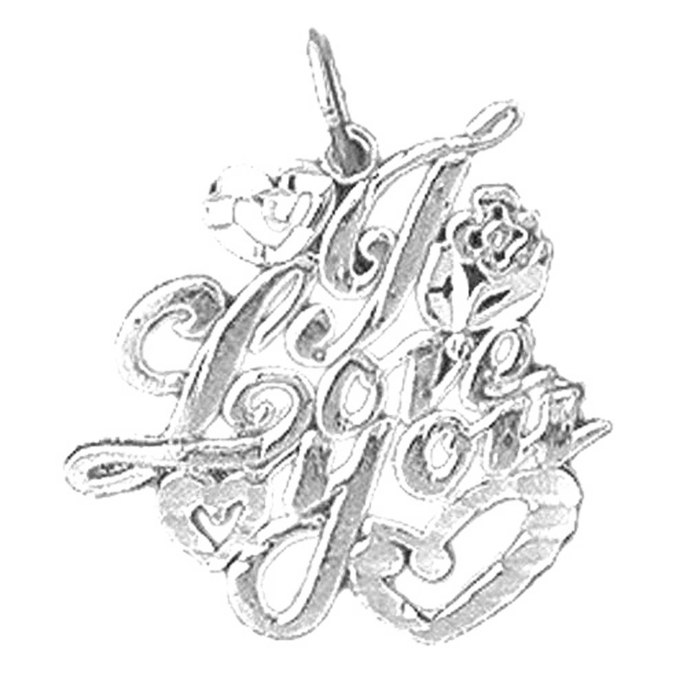 Jewels Obsession I Love You Necklace Rhodium-plated 925 Silver I Love You Pendant with 30 Necklace