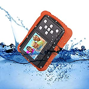 Kids Digital Camera – Waterproof to 3 Meters – HD Video Recorder and 5 Mega Pixels – Shockproof Childrens Camera (Orange)