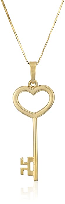 Amazon 14k yellow gold key pendant necklace 18 jewelry 14k yellow gold key pendant necklace 18quot aloadofball Gallery