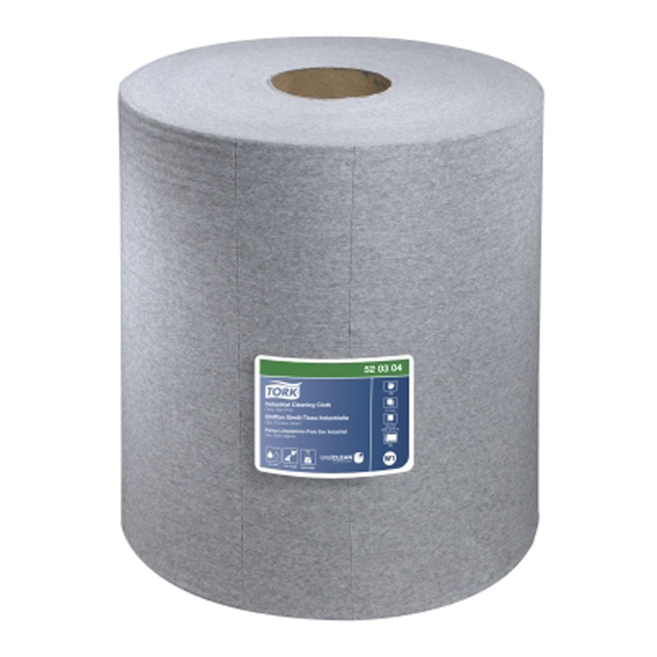 Tork 520304 Industrial Giant Roll Single-Ply Cleaning Cloth, Gray