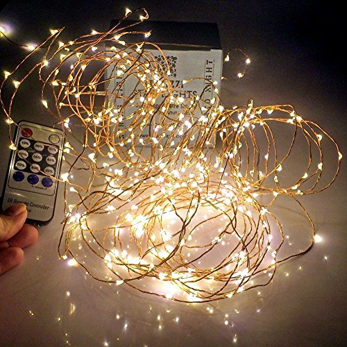 Qualizzi Starry Lights 40 Feet Xx-Long / 240 Leds with Remote Control Dimmer. Warm White Twinkling Lights on Copper