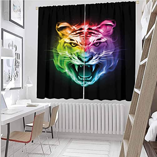 June Gissing Tiger Room Bedroom Curtains Multicolored Abstract Rendition Large Feline Blazing Spectrum of Fire Rainbow Color Light Darkening Curtains W63 x L84 Multicolor