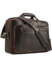 Men's Vintage Leather Messenger Satchel Multi-Purpose Pocket Casual Travel School Case Tablet 17 Inch Laptop Large Capacity Shoulder Bag Business Briefcase Tote Handbag Brown