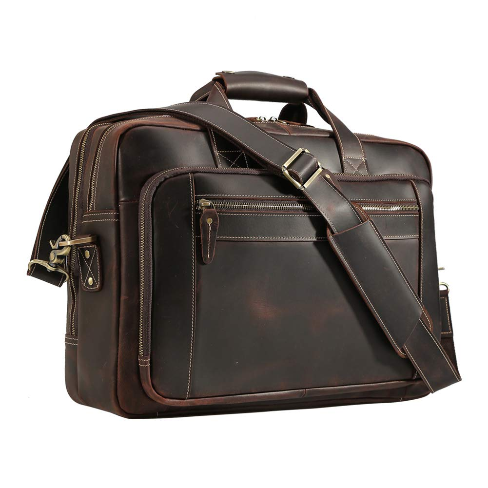 Men's Vintage Messenger Satchel Leather Multi-purpose Casual Travel School Case Tablet 17 Inch Laptop Shoulder Bag Business Briefcase Tote Handbag Brown