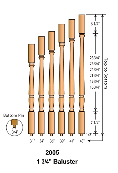 Box of 40 Top quality 5205 Red Oak 1-1//4 Square top baluster available in 36 and 41