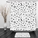 Vipsung Shower Curtain And Ground MatApartment Decor Collection Doodle Style Digital Drawn Various Size and Type Star Comet Figures Solar Decor Black WhiteShower Curtain Set with Bath Mats Rugs