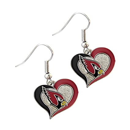 bc46fbf6ee37 Amazon.com   NFL Arizona Cardinals Swirl Heart Earrings   Sports ...