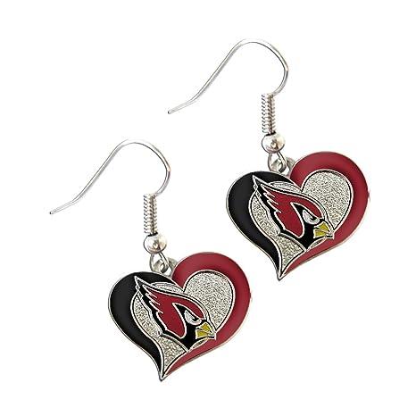 ff3173ee Arizona Cardinals NFL Sports Team Logo Swirl Heart Shape French Hook Style  Charm Dangle Earring Set