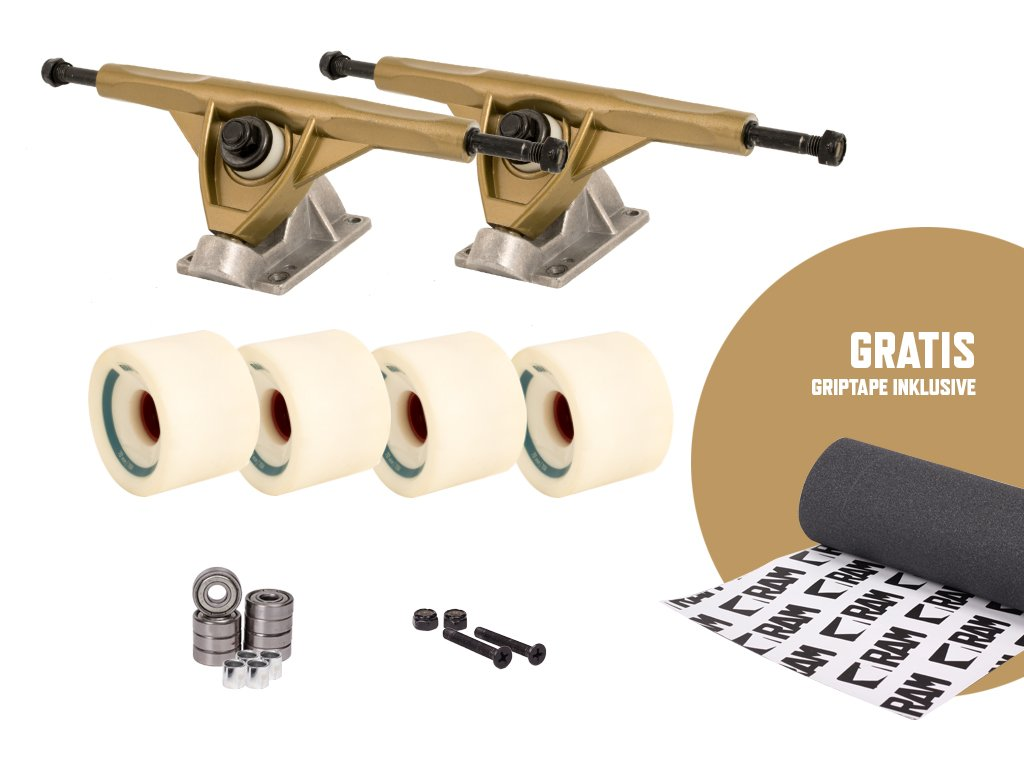 RAM UB-Truck - Set de ejes para longboard, 180 mm, incluye cinta de adherencia, dorado/blanco: Amazon.es: Deportes y aire libre