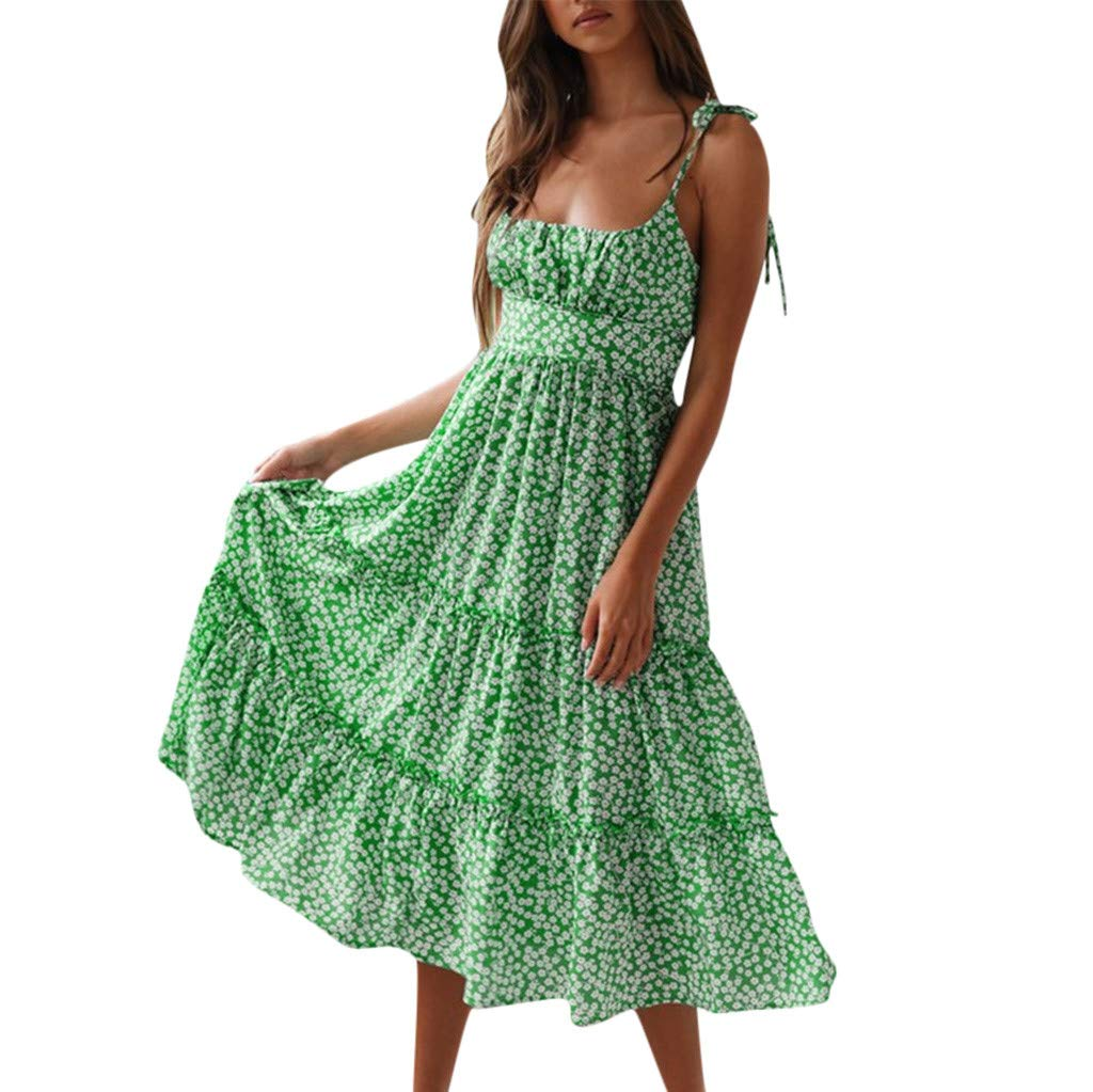 Nadition Summer Beach Dress ❤️️ Women Sexy Tie Up Shoulder Snowflake Print Backless Dress High Waist Loose Maxi Dress Green