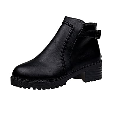 QXH Schuh-Shop Qxw Runden Kopf Dick Unten Dick und Rücken Reißverschluss Frauen Kurze Stiefel, Schwarz, 41