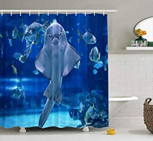 Musesh Shower Curtains,Wide Shower Curtains,78X72 Inch Shower Curtain with Hooks for Bathroom Angel Shark in Aquarium You Can See as Stand Stomach It