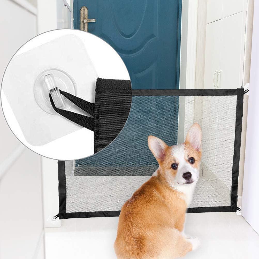 EXPAWLORER Dog Safety Magic Gate - Black Mesh Foldable Portable Anywhere Installed Isolation for Small Pets