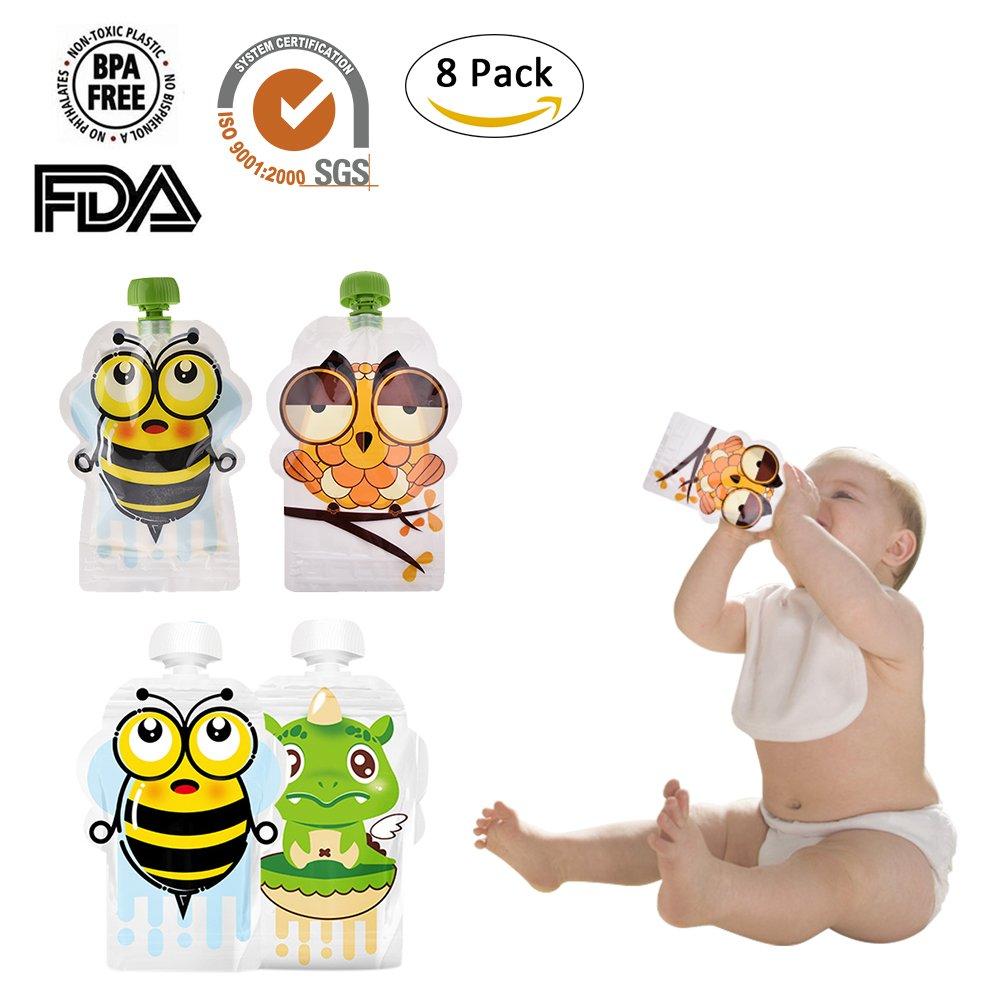Hochwertige Wiederverwendbare Quetschbeutel für Fruchtpüree/Babynahrung/gesunde Snacks etc, 8er Pack(150ml) Cheerfulus